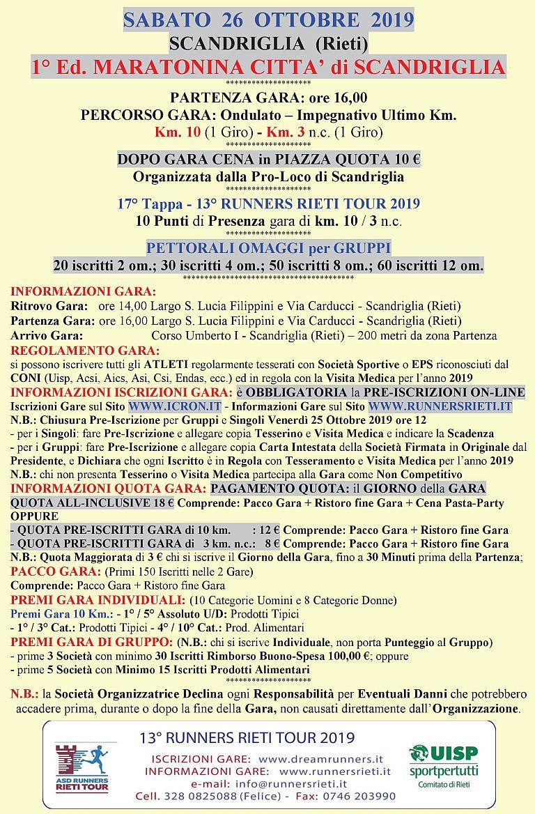 1° Maratonina Città di Scandriglia